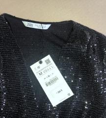Új, címkés ZARA fekete ezüst csillogós top