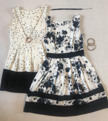 Elegáns fehér ruha kék rózsákkal