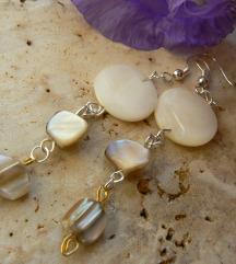 Arany- ezüst fehér kagyló fülbevaló