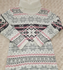 Téli vastag norvég mintás pulóver
