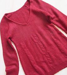 Piros, kötött pulóver, S-es