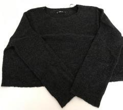 Szürke rövid fazonú kötött pulóver L