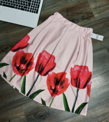 AKCIÓ Tulipános púderrózsaszín szoknya