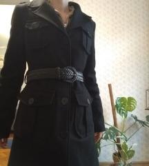 S-es Hosszú őszi karcsúsított kabát +2 öv, zsebek