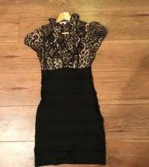 XS/34/6 Tally Weijl fekete-leopárd mintás ruha