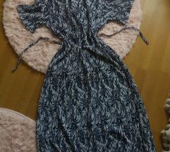 Sötétkék mintás hosszú ruha