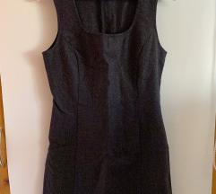 Benetton sötét szürke, vékony, gyapjú ruha S