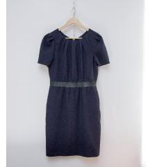 H&M dombormintás kék sötétkék ruha