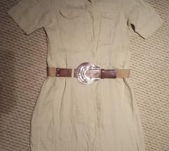 Lenvászon szafari stílusú ruha