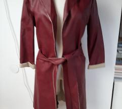 Új olasz bőrhatású kabát burgundi
