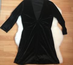 Stradivarius fekete bársonyos ruha M