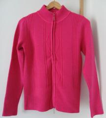 S - Újszerű pink kötött pulcsi, cipzáros, meleg