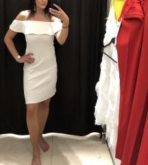 Zara fehér alkalmi nyitott vállú ruha