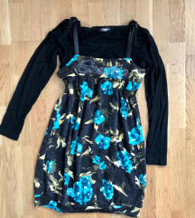Fekete virágos rövid ruha 36-38