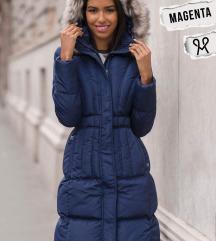 ÚJ Magenta sötétkék téli kabát