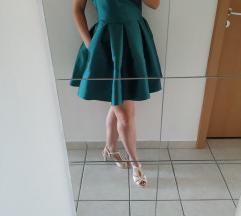 Sötétzöld szatén alkalmi / menyecske ruha
