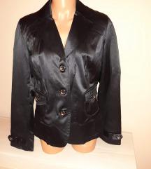 Fekete elegáns selyem kosztümfelső/blézer XXL-es