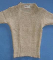S - Rövidujjú szürke kötött felső, pulcsi