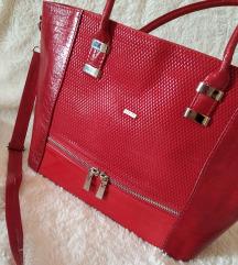 Új piros valódi bőrtáska (Posta az árban)