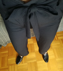 ÚJ CÍMKÉS basic fekete H&M PAPERBAG nadrág