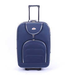 Sötétkék bővíthető gurulós bőrönd