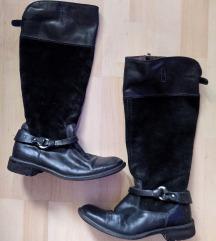 Mexx fekete bőr-velúrbőr csatos csizma 39