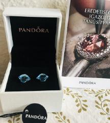 EREDETI Pandora kék kristályos ezüst fülbevaló