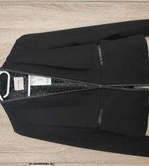 Orsay bőrszegélyes fekete blézer 34/36 ÚJ