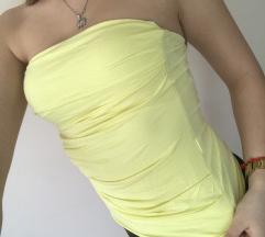 Divatos sárga pántnélküli felső