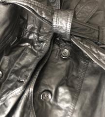 Vintage fekete bőr trench coat