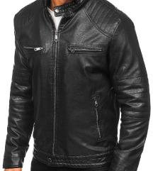 Férfi bélelt biker bőrdzseki fekete