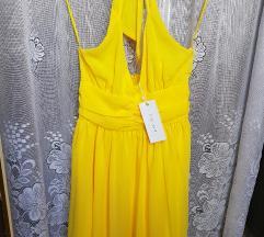Amisu sárga nyakba kötős ruha(ingyen posta