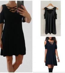 Fekete cold-shoulder ruha