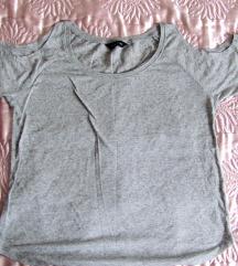 Kivágott ujjú szürke póló, t-shirt