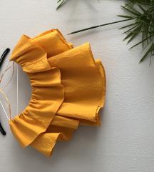 Új Zara narancs vállejtős, crop felső