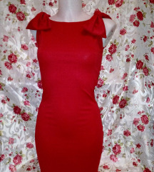 Új piros masnis mini ruha xs