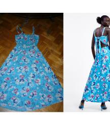 Zara kék virágos maxi nyári ruha L
