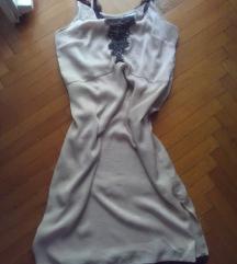 Nude, bézs fekete csipkés ruha 40