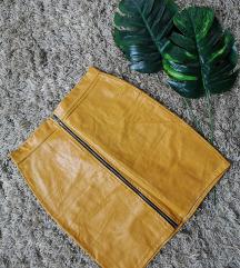mustár színű műbőr szoknya