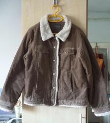 Barna kordbársony kabát, unisex, L