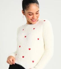 New Look hímzett szívecskés fluffy pulóver 42/L