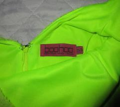 Boohoo neonzöld ruha