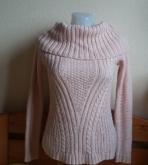 Orsay halvány rózsaszín kötött pulóver, XS-es