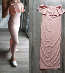 Pasztel rózsaszín testhezálló ruha S