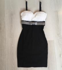 Fekete-fehér pántnélküli ruha xs-s