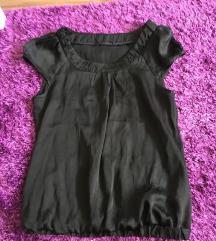 Fekete elegáns nyári selyem felső ing blúz S-M
