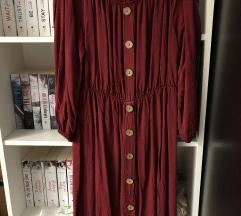Bordó, vállejtős ruha