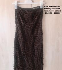 Blue Nature barna fodros pántnélküli ruha 3500Ft
