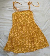 Mustársárga virágos nyári mini ruha