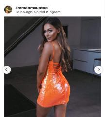 Sarah Ashcroft orange sequin lace up black dress